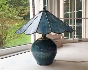 PRAIRIE Slag Leaded Panel Lamp Shade Ceramic Lamp Base MARKED