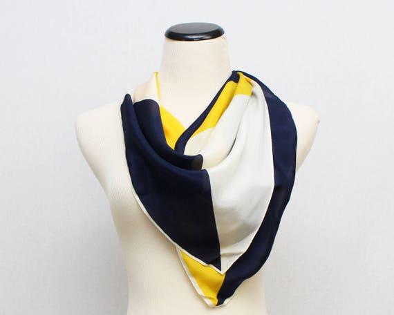 Silk Vera Neumann Scarf - Vintage 1970s Navy Yellow and White Square Vera Scarf