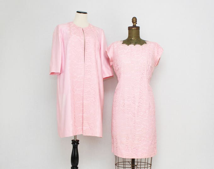 Vintage 1950s Pale Pink Lace Cocktail Dress and Jacket - Size Large