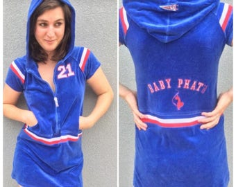 90s BABY PHAT Velour Blue Zip Up Hoodie Dress