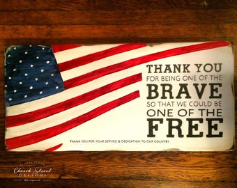 Military Thank You Sign - Wooden Flag - Retirement Gift - Police Thank You gift - Military Retirement Gift