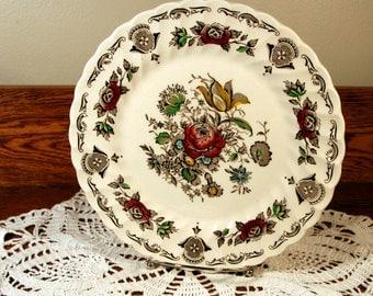 Staffordshire-Myotts Bouquet- dinner plate-vintage multicolor transferware