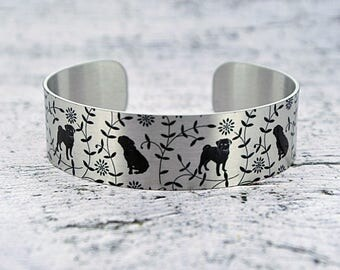 Pug cuff bracelet, brushed silver aluminium bangle with dogs. Dog lovers gift. Secret message jewellery pug gifts. B546