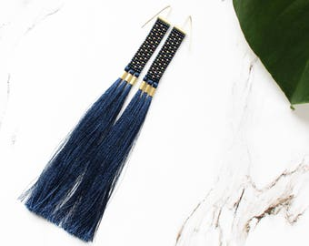 navy blue long earrings, long tassel earrings, extra long fringe earrings, dot earrings, boho earrings, beaded earrings, seed bead earrings