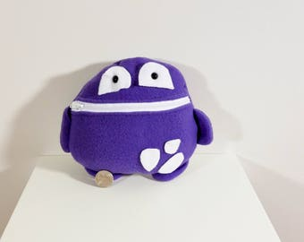 Purple and White Tooth Fairy Pillow- Pocket Monster- Colorful Monster Plush