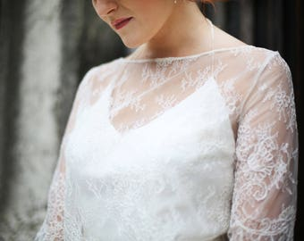 Calais lace wedding gown / am