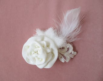 hair clip bridal silk lace, tulle, feather flower and Ivory Pearl