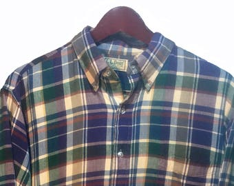 LL BEAN Blue Purple Red Beige Brown Plaid Tartan Cowboy Western Shirt Men's Size L