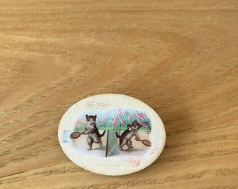 Playing Kittens Wooden Brooch