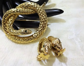 Nice Vintage  Erwin Pearl Coiled Snake Brooch and Earrings