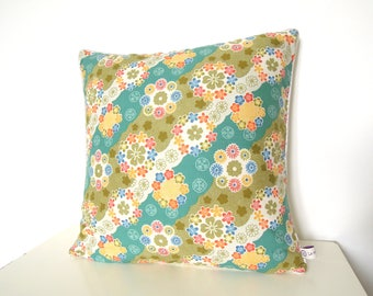"Cushion cover "" Japanese multicolours flowers, back ecru cotton and golden piping """