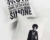 Nina Simone Pillow, White, Red, Gray, & Beige 100% cotton, 20 x 20, double-sided