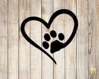 Heart Paw Print Vinyl Decal | Pet Decal | Dog Decal | Puppy Decal | Love Decal | Vet | Car Window Decal | Yeti Cup Decal | Custom Sticker