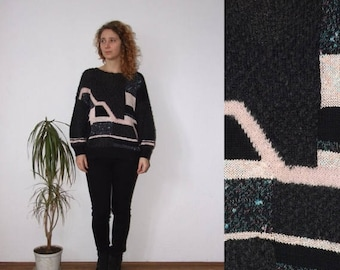 ON SALE 80's vintage women's black-pink geometric patterned knitted sweater
