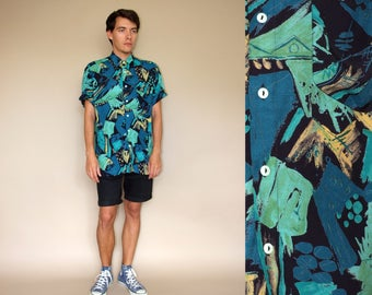 80's vintage men's turquise abstract patterned boho shirt