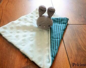 Flat blanket, crochet grey and Blue Bunny