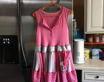 Pretty in pink upcycled tunic size large