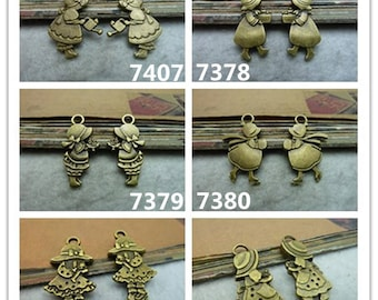 Antique Bronze Alice Girl Little Red Cap Charms Pendants Jewelry Findings
