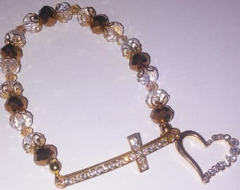 Religious Christian Jewelry Cross Heart Bracelet Religious Jewelry Christian Bling BR29