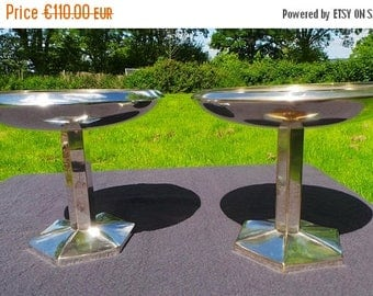 Summer Sale 15% Off Vintage French Silver Plate Dish Pair of Tazzas Art Deco Two Dishes Beautiful Design Super Table Centre Pieces French Bo