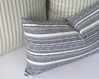 Blue Throw Pillow Covers // Vintage Barkcloth Texture // Dark Blue Pillows // Blue Throw Pillow Covers // 1925