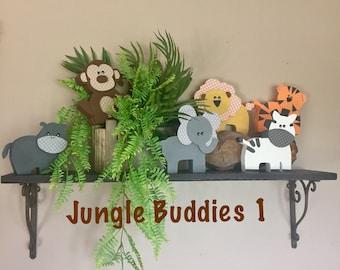 Wooden Jungle Buddies 1 - Jungle Animals, Safari Animals, Nursery/Kid Decor, Giraffe, Lion, Tiger, Zebra, Monkey, Elephant, Hippo, Animals