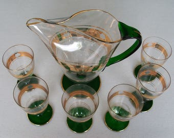 Green Gold Vintage Glass Pitcher & 6 Glasses