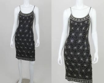 Vintage Sequin Dress Black Papell Boutique Size 4 Spaghetti Strap White Floral Cocktail Short Fitted Party