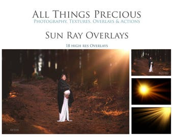 18 High Res Fine Art Digital SUN RAY / Lens FLARE Overlays / Textures
