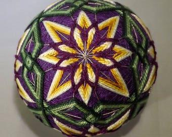 Japanese Temari Ball Purple with Yellow flowers