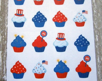 Fourth of July Planner Stickers, Independence Day, July 4th Cupcakes, Patriotic Stickers, Decorative, Matte Removable