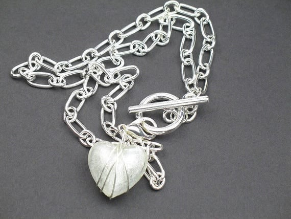 Heart Statement Necklace in  Silver and White with Chunky Wire Wrapped Pendant and Silver Chain