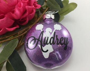 Cheerleader pompom Glitter Ornament, Personalized glitter ornaments, cheerleading gift, gifts for cheerleaders, cheer team, monogrammed