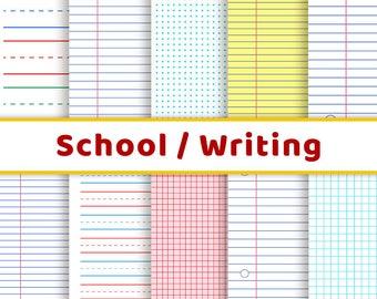 School Digital Papers, Handwriting Practice, Back to School, Lined Journal Paper, Dot Grid Printable, Preschool Paper, Graph Paper Journal