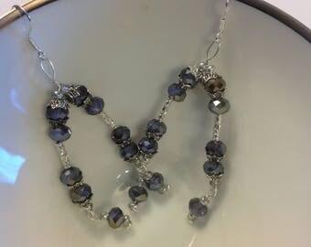 Sterling silver-drop earrings-glass purple beaded drop earrings