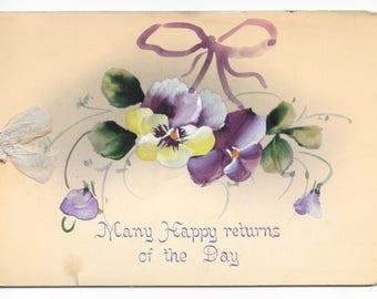 Victorian Hand-Painted Pansies Birthday Card, c. 1890