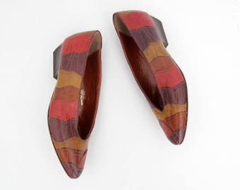 Vintage shoes // multicolor patchwork leather shoes
