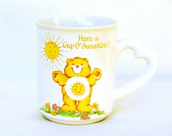 Vintage 1980s Care Bears Funshine Bear Mug Heart Shaped Handle Yellow Cup of Sunshine Coffee Tea Cup Gift