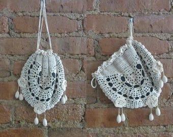 December Sale 1910s Edwardian crochet acorn reticule • Cora