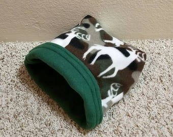 Cuddle sack ~ Sleep Pouch ~ Deer Print Reversible fleece pouch~ hamster~ gerbil~ mice~ rat~ ferret~ hedgehog~ guinea pig& more!