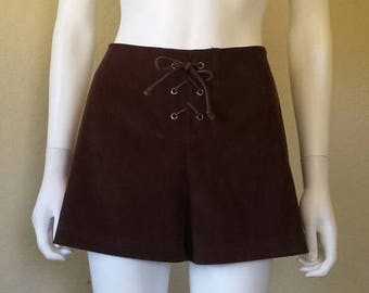 ON SALE Dark brown lace up 90s shorts