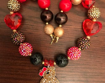 Brown Huggable Teddy Bear with Red Heart Bubble  Gum Necklace (Child)