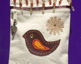 Cute Little Bird natural casual canvas Purse on a String