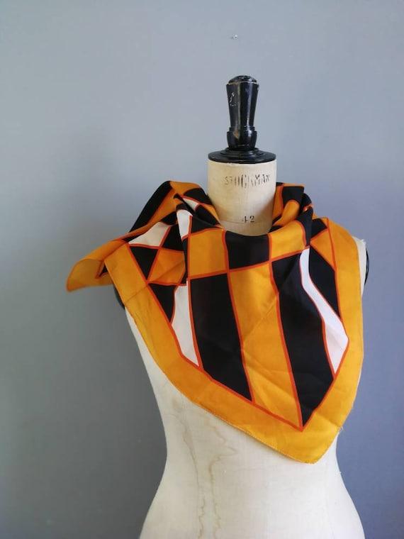 70s orange black scarf / vintage head wrap scarf / mod scarf / small square retro scarf / black orange retro wrap scarf / 1970s