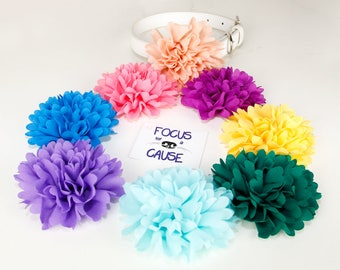 Fluffy Chiffon Flower for Dog Collar or Harness Decoration, Collar Accessory by Focus for a Cause