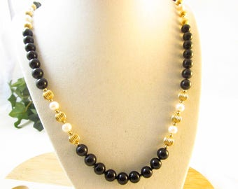 "Ladies RTI Necklace 14-K-Yellow Gold Black Onyx and Pearl Strand Necklace Stamped-RTI  24"" Opera Length 14k Gold Beaded Needs To Be Restrung"