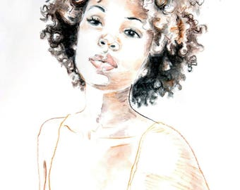 African American Woman Natural Hair Curls Art Print Afro Portrait Watercolor Illustration Limited Edition Poster Print