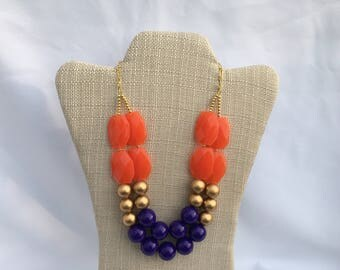 Clemson Necklace - Orange Purple necklace - Statement Necklace - Orange Purple  Necklace - GameDay Necklace - Purple Necklace