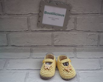 baby booties/Mary Jane booties/crochet shoes/cotton baby sandals/baby shower gift/christening shoes/cotton Mary Janes/ baby girl sandals.