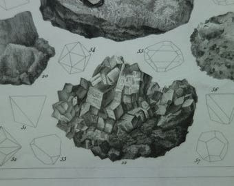 """Antique minerals print - lovely original 160+ years old poster - vintage b/w pictures of mineral rocks stones crystals mineralien - 9x11"""""""